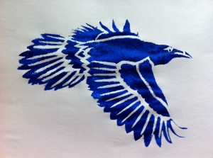 first I drew a flying raven from a photo, cut a stencil and tested it on newsprint