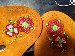 Stitch the beaded uppers onto the vamps