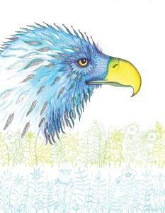 "Eagle Ink, acrylic paint, watercolour pencil, 9 X 12"""