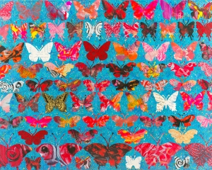 Turquoise Butterflies 22 X 28""