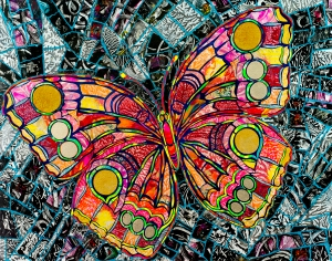 Collage Butterfly 22 X 28""